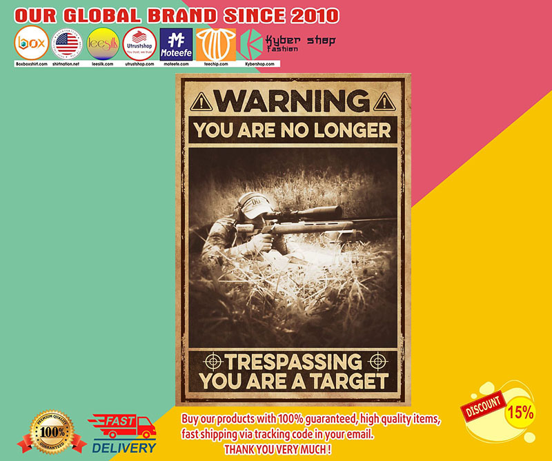 Warning you are no longer trespassing you are a target poster 8