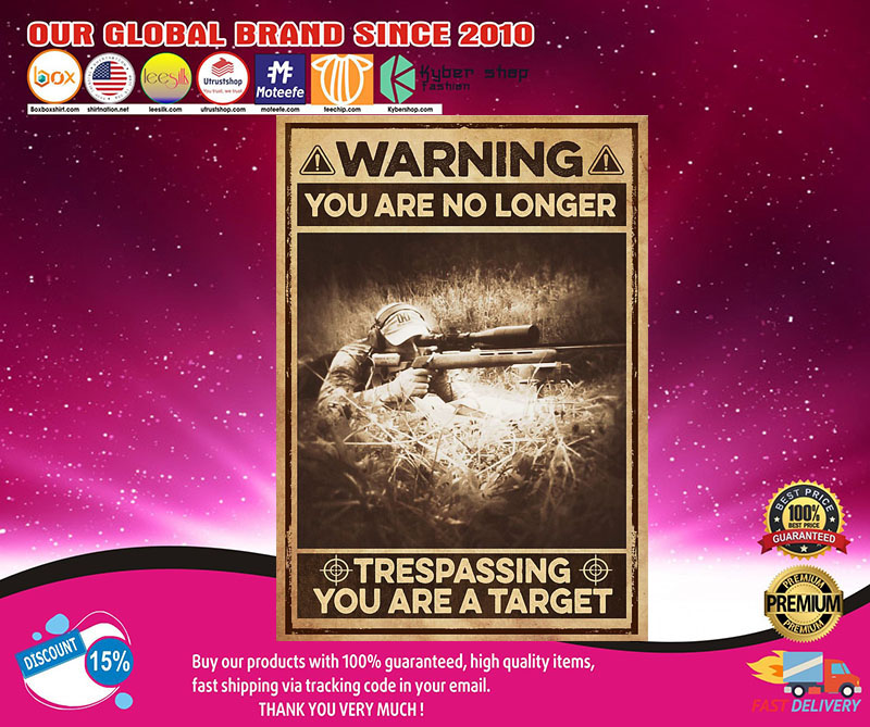 Warning you are no longer trespassing you are a target poster 7