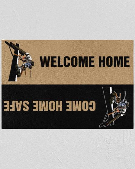 Lineman welcome home doormat