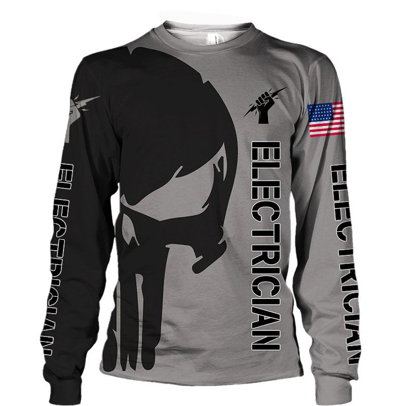 Electrican punisher skull US flag 3d hoodie 2