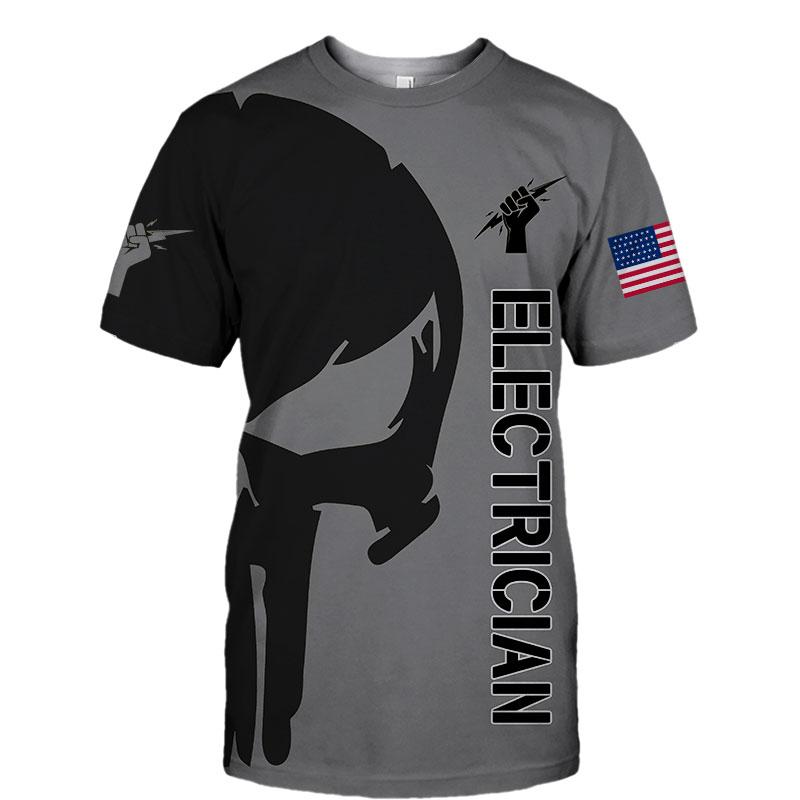 Electrican punisher skull US flag 3d hoodie 1