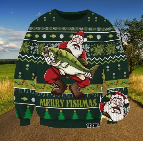 Merry fishmas ugly christmas sweater 1