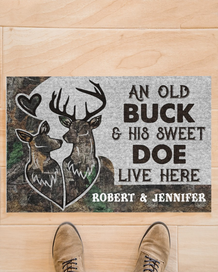 An old buck and his sweet doe live here custom name doormat 9