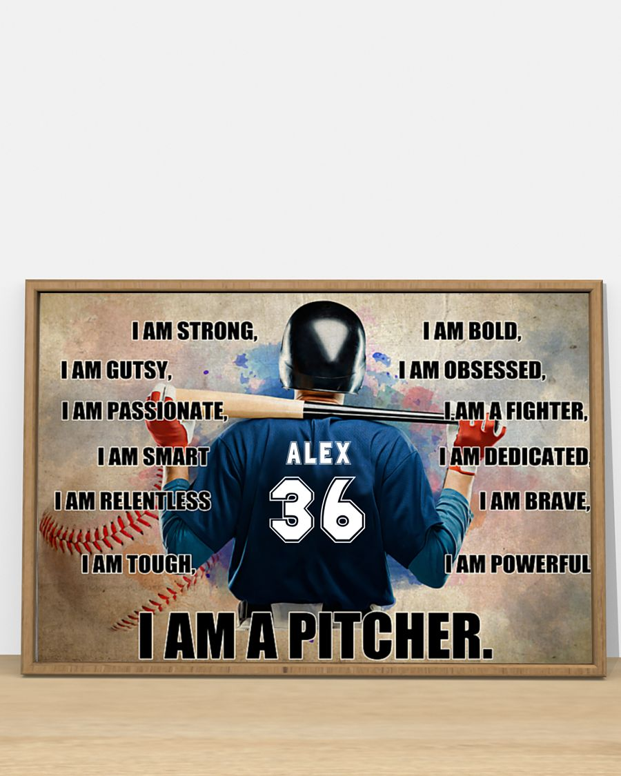 Poster Baseball I am pitcher custom name and number 10