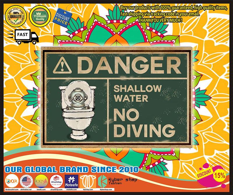 Poster Scuba danger shallow water no diving 10