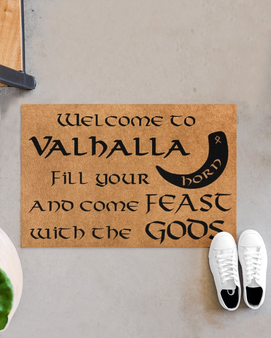Vikings welcome to valhalla fill your horn doormat 9