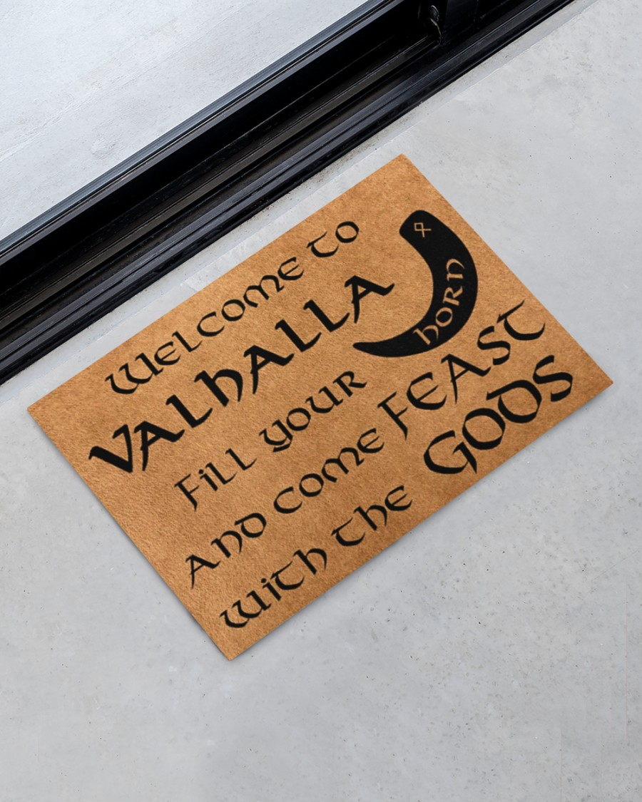 Vikings welcome to valhalla fill your horn doormat 11