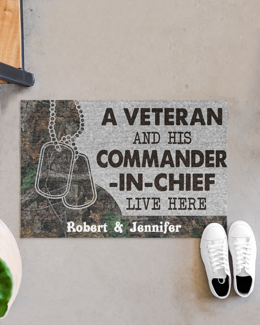 A veteran and his commander in chief live here custom personalized name doormat 9