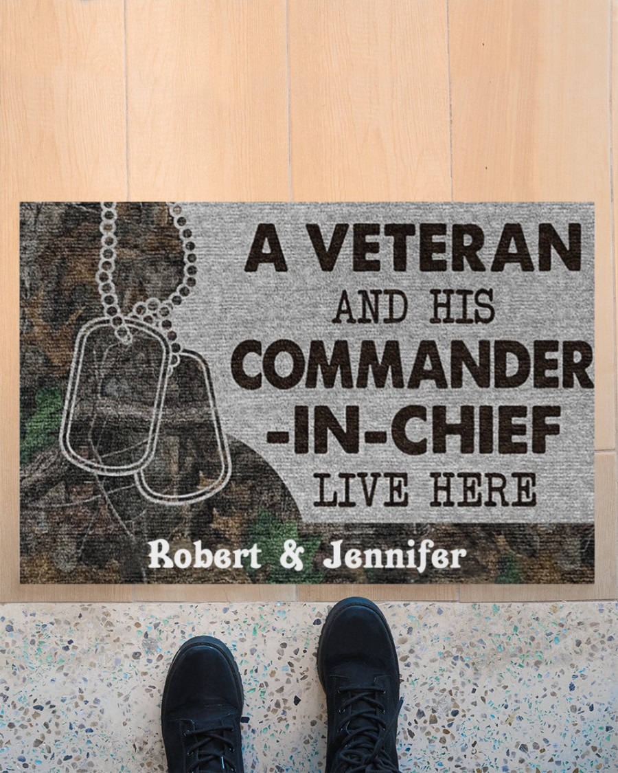 A veteran and his commander in chief live here custom personalized name doormat 10
