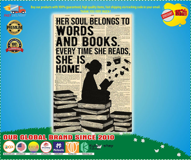 Poster Her soul belongs to words and book 9