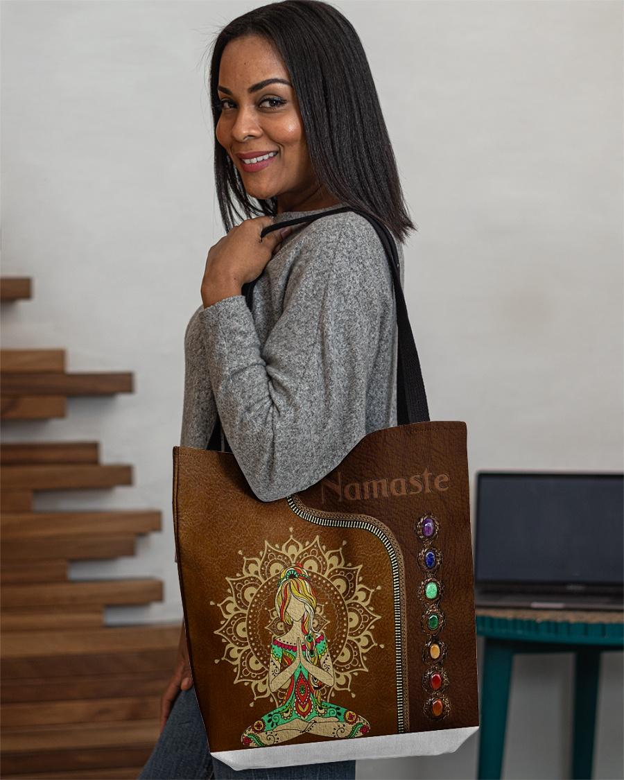 Yoga hippie girl namaste tote bag 10