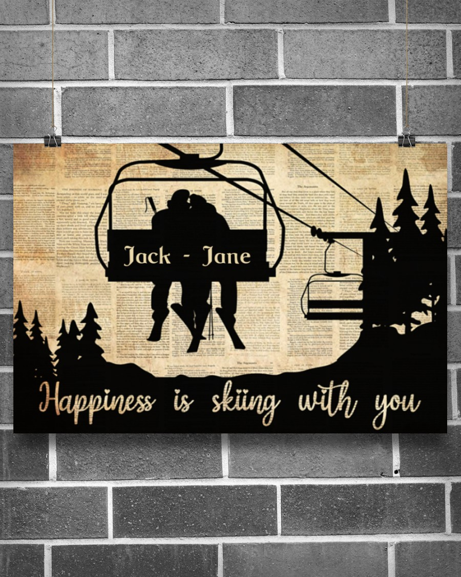 Happiness is skiing with you custom name poster 10