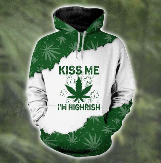 Kiss me I'm highrish couple 3d hoodie 3