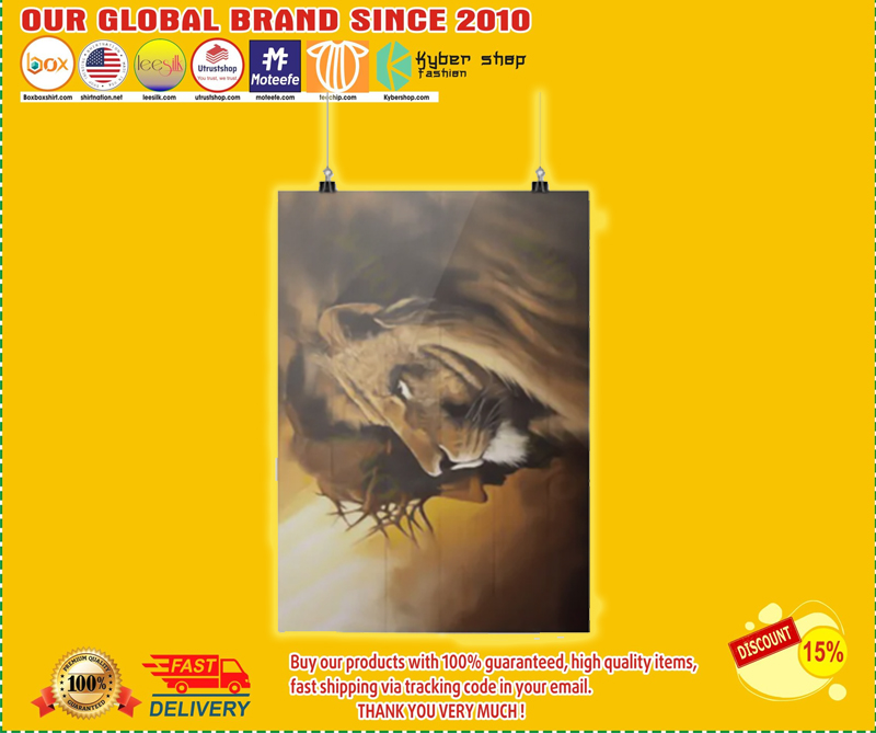 Lion and god canvas poster 4