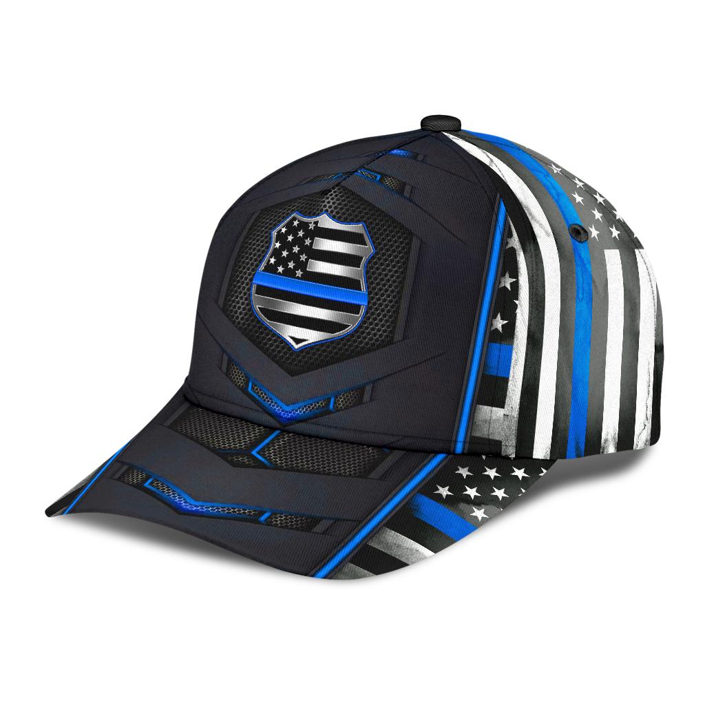 Police Blue pattern flag cap 9