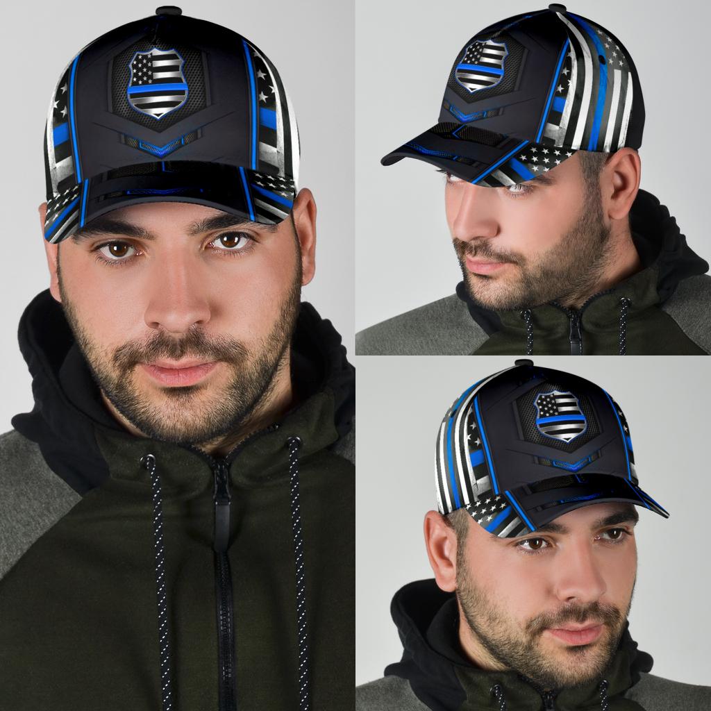 Police Blue pattern flag cap 10
