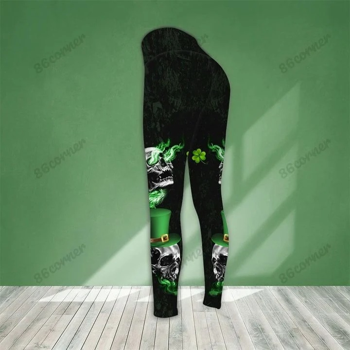 St Patrick day Skull stuck between IDK IDC and IDGAF 3D hoodie and legging 9