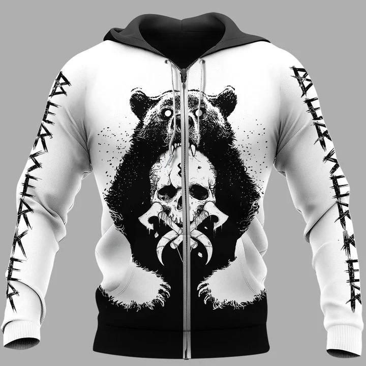 Viking bear 3D hoodie 9