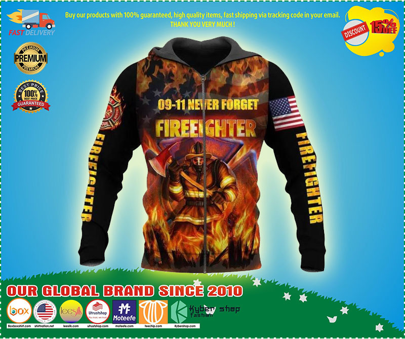 09-11 never forget firefighter 3D hoodie 9