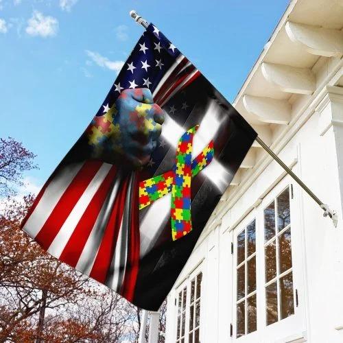 Autism awareness cross American flag 3