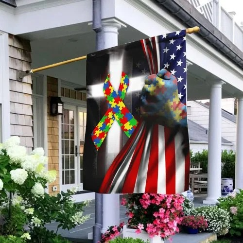 Autism awareness cross American flag