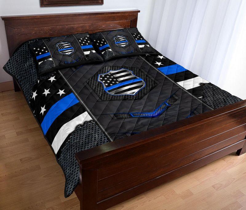Back the blue police US flag bedding set 9