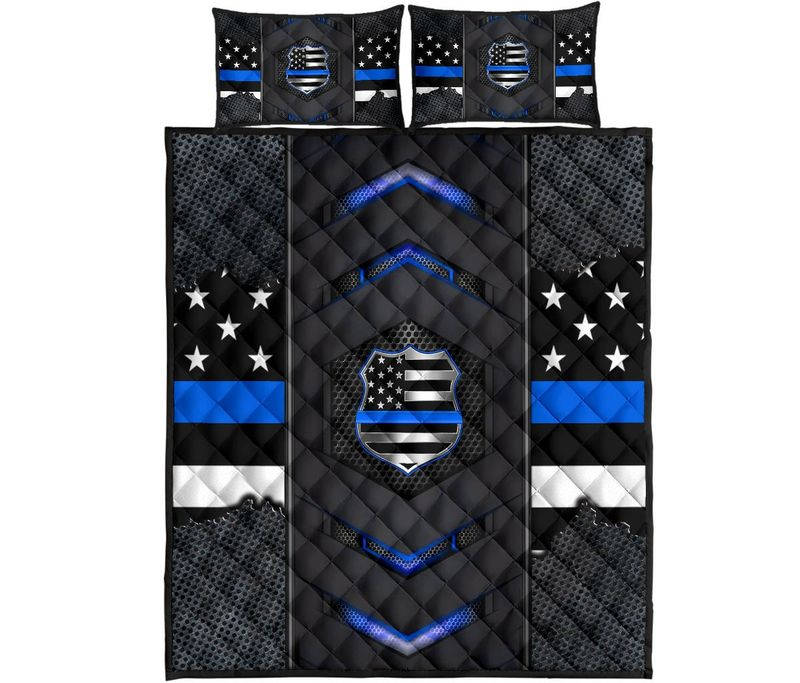 Back the blue police US flag bedding set 10