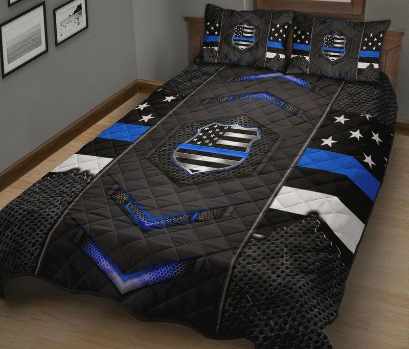 Back the blue police US flag bedding set 11