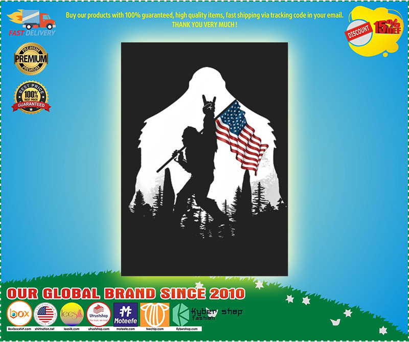 Bigfoot American flag sticker 9