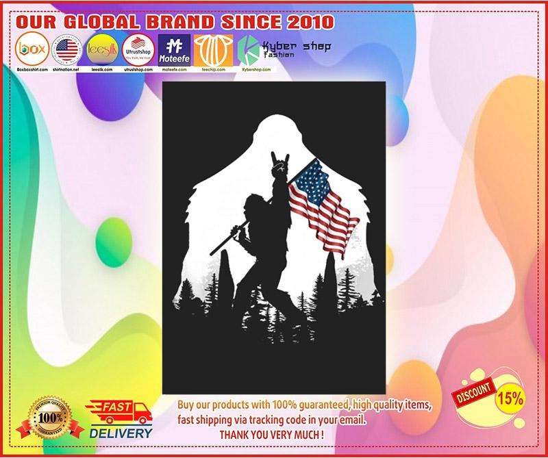 Bigfoot American flag sticker 10