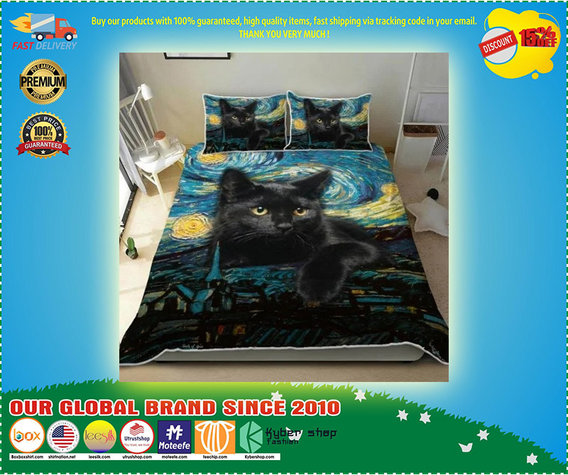 Black cat starry night bedding set 9
