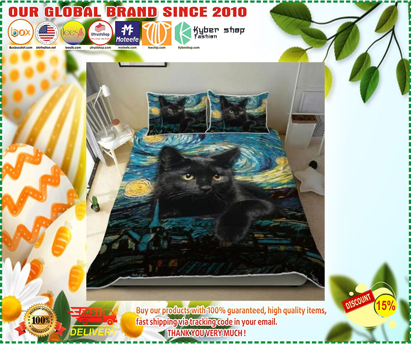 Black cat starry night bedding set 11