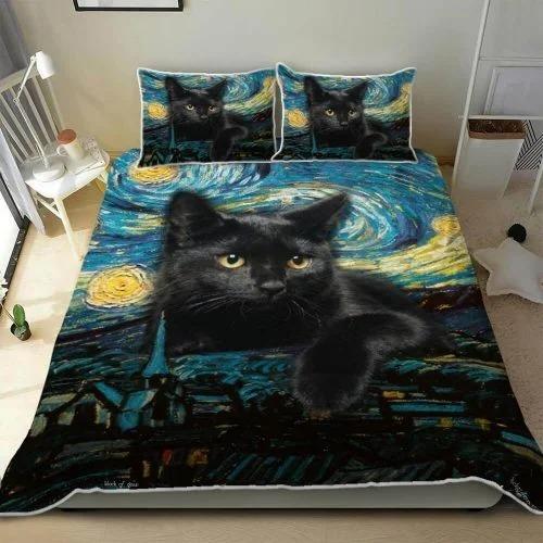Black cat starry night bedding set 1