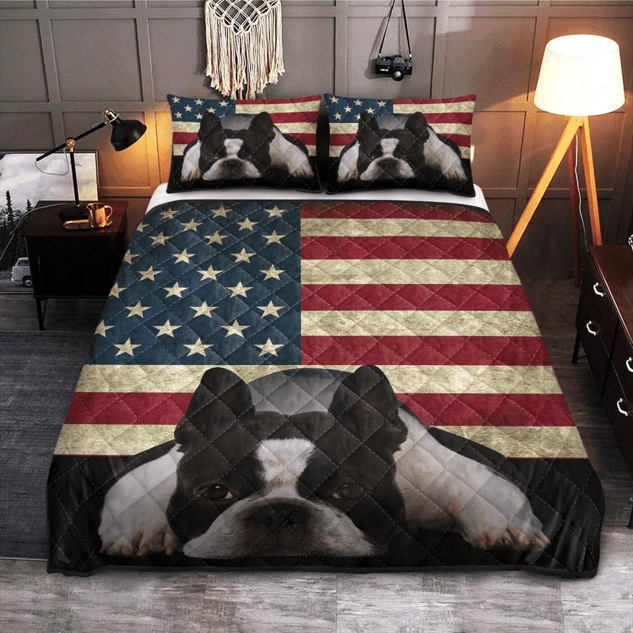 Boston Terrier American Flag bedding set 7