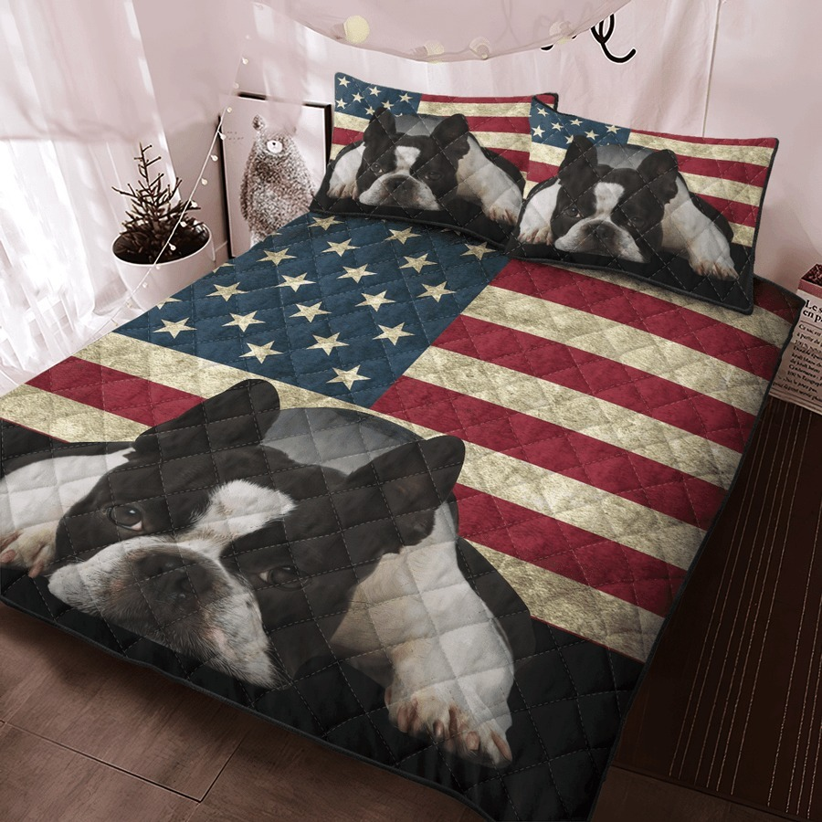 Boston Terrier American Flag bedding set 9