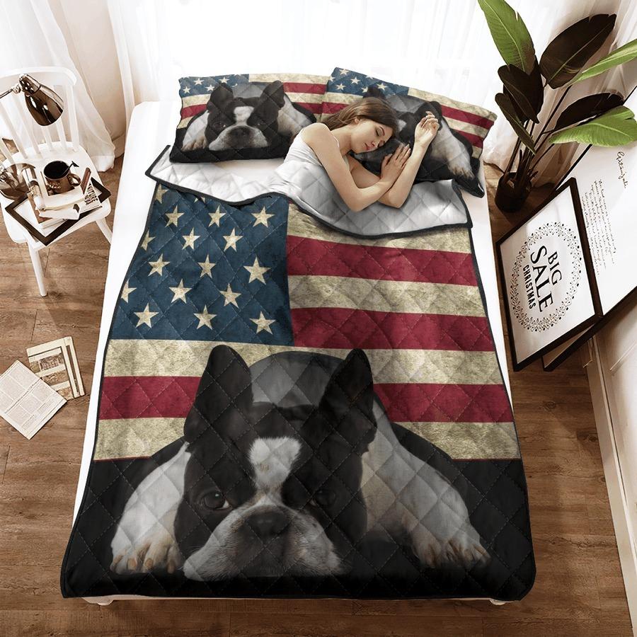 Boston Terrier American Flag bedding set 8