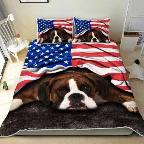 Boxer American patriot bedding set 1