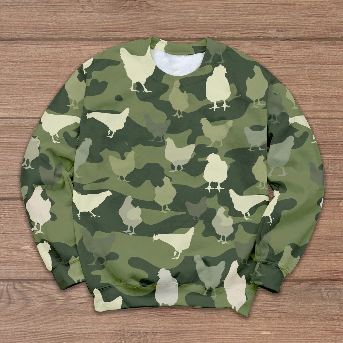 Chicken in green 3D shirt and hoodie 10