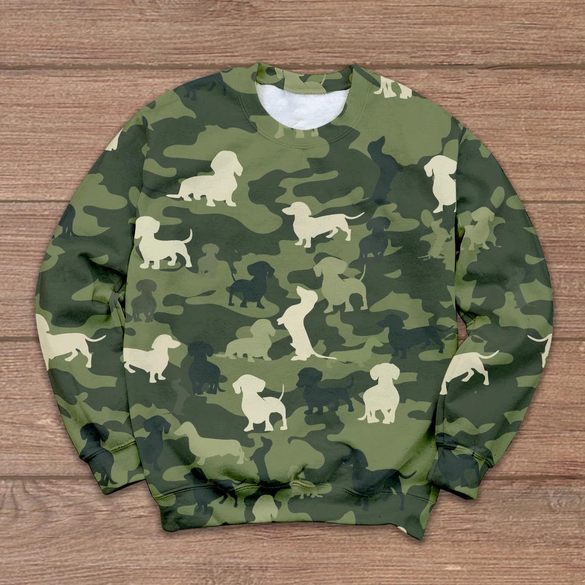 Dachshund camo 3D hoodie, shirt 9