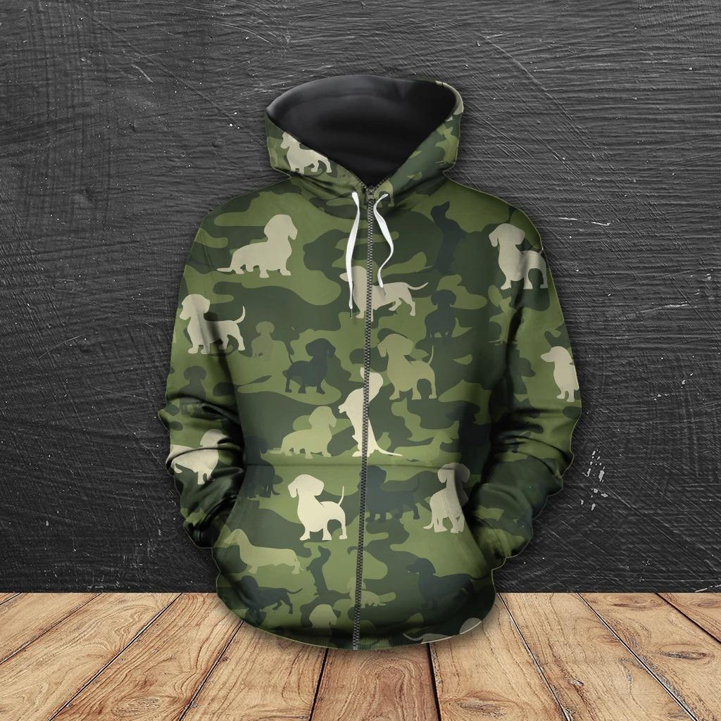 Dachshund camo 3D hoodie, shirt 11