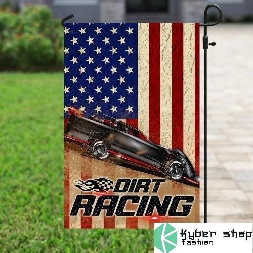 Dirt racing american flag