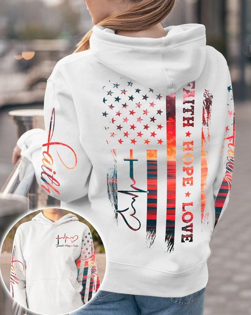 Faith hope love sunset beach 3D hoodie 9
