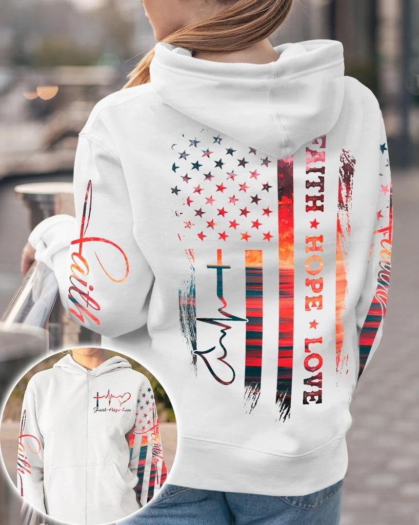 Faith hope love sunset beach 3D hoodie 10