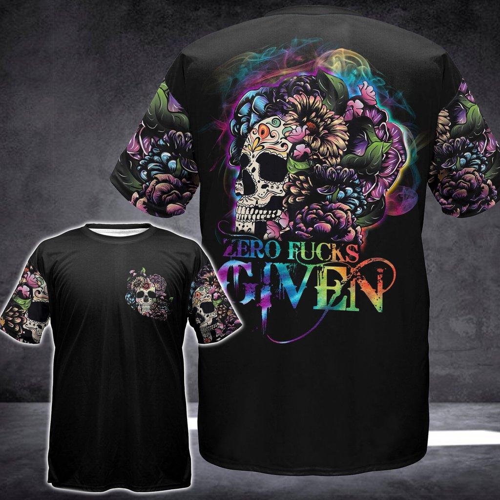 Floral sugar skull zero fucks given 3D hoodie 9