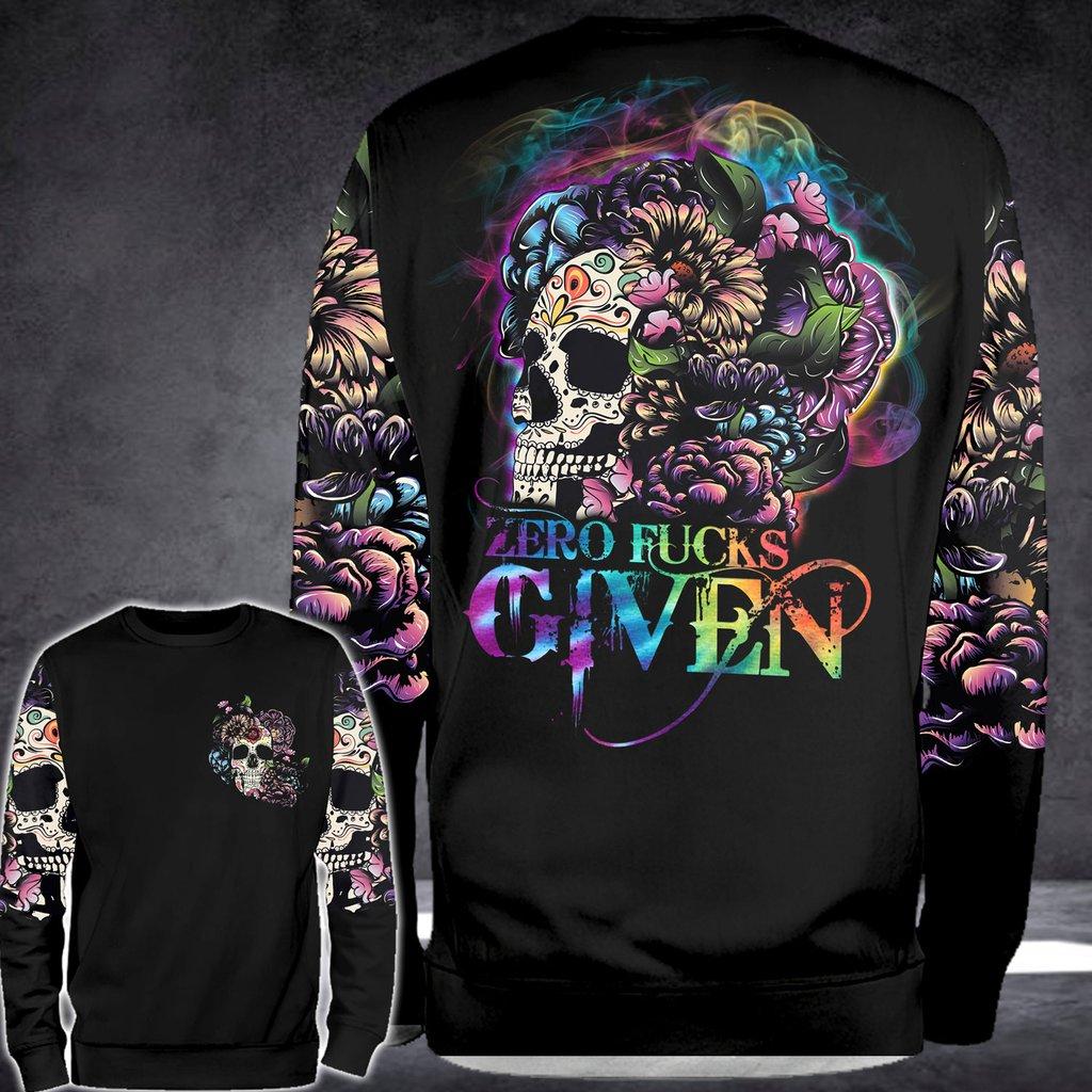 Floral sugar skull zero fucks given 3D hoodie 10