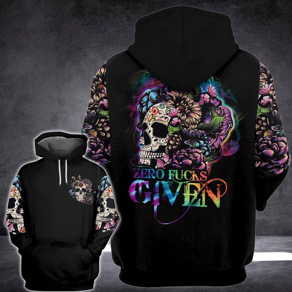 Floral sugar skull zero fucks given 3D hoodie 11