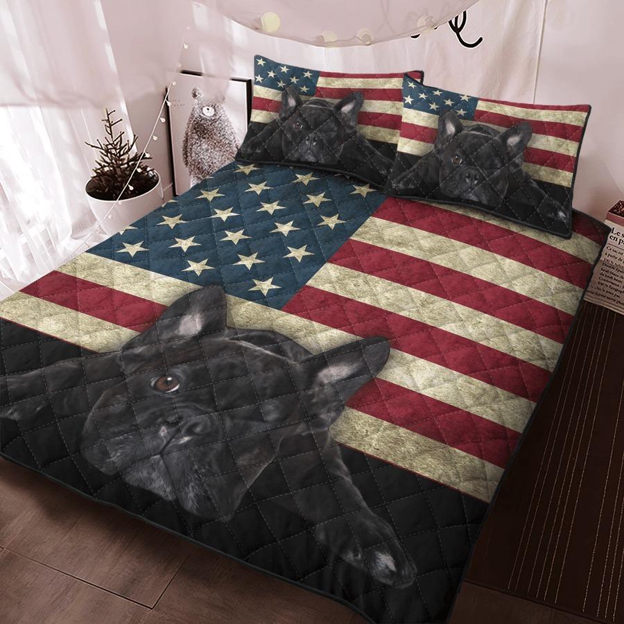 French Bulldog American Flag bedding set 9