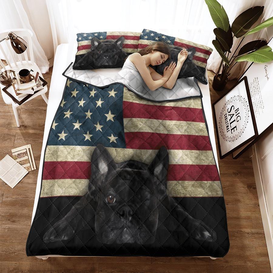 French Bulldog American Flag bedding set 8