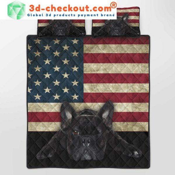 French Bulldog American Flag bedding set