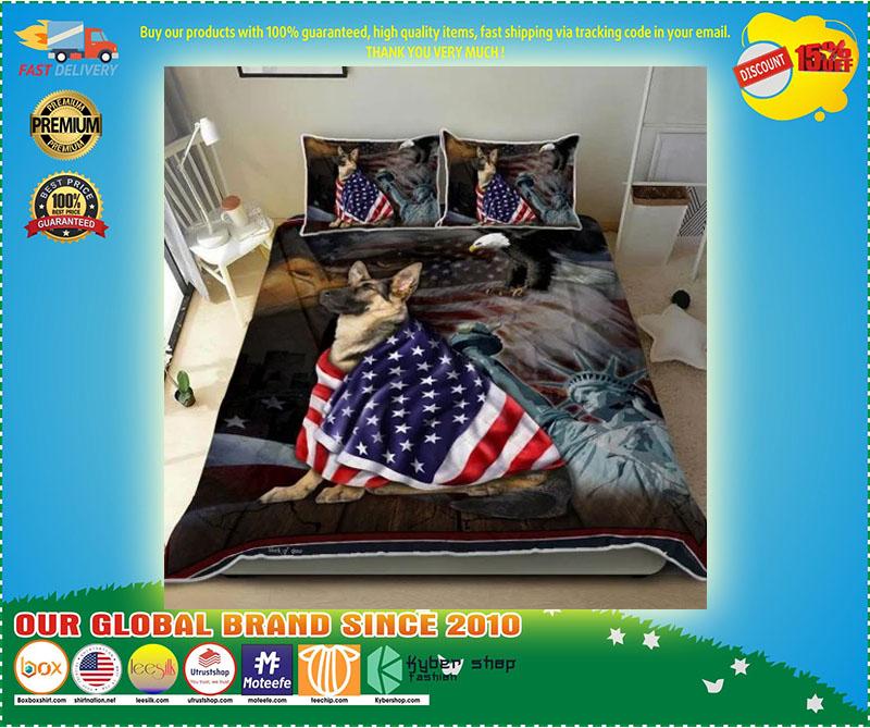 German Shepherd American Patriot Quilt Bedding set 11